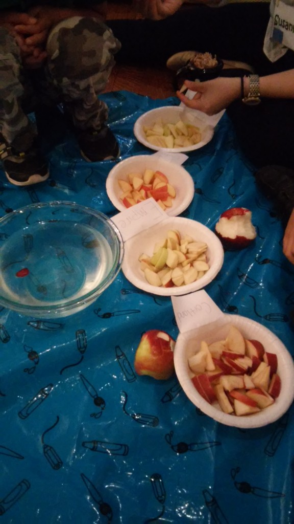 We tasted different kinds of apples...