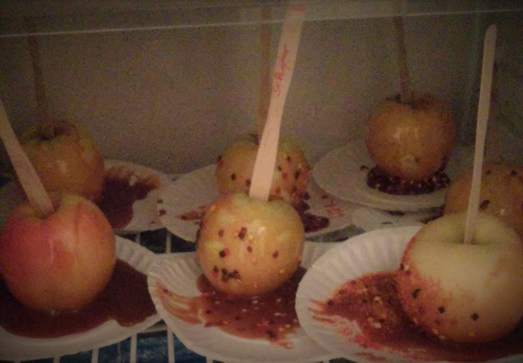 Made caramel apples with sprinkles, and dipped apple slices in caramel!
